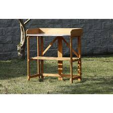 Gardening Table Patio Wise Folding Potting U0026 Gardening Table With Steel Top