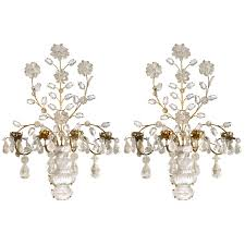 Crystal Wall Sconces by Pair Of French Bagues Style Rock Crystal Wall Sconces At 1stdibs