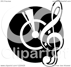 clipart of a black and white vinyl record with a music note