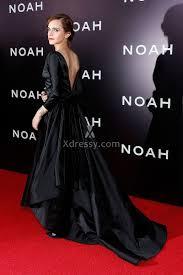 emma watson hollywood vintage black satin long sleeve ball gown