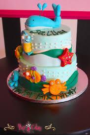 birthday cake boy aqua 2 tier ocean whale starfish under sea
