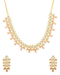beautiful gold necklace set images Buy designer necklace sets pretty gold plated meenakshi cz jpg