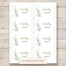 folded table place cards greenery wedding table name place cards reception place cards