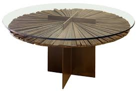 Round Glass Dining Table With Wooden Base Pedestal Coffee Table Multifunctional Piece Of Furniture Round