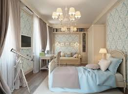 blue cream traditional bedroom with wallpaper modern interior
