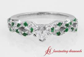 braided engagement ring pave with emerald braided engagement ring in