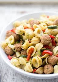 Roasted Vegetable Recipes by Pasta With Turkey Meatballs And Roasted Vegetables Recipe