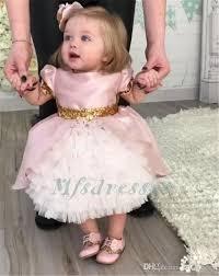2017 cute pink ruffles tea length flower dresses with gold