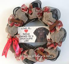 imprinted ribbon personalized pet wreath custom chocolate labrador wreath