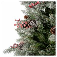 christmas tree 180 cm flocked dunhil with pine cones and online