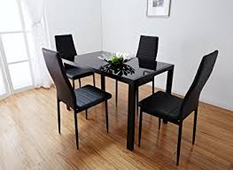 Black Glass Dining Table Set With  Faux Leather Chairs Brand New - Black glass dining room sets