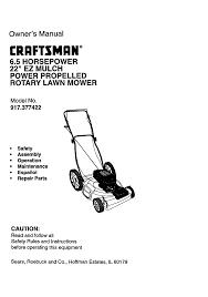 craftsman lawn mower 917 377422 user guide manualsonline com