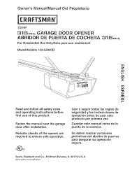 Craftsman Garage Door Openers Troubleshooting by Craftsman Garage Door Opener 139 53920d User Guide Manualsonline Com