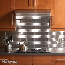 kitchens with stainless steel backsplash stainless steel kitchen backsplash family handyman with designs 6
