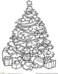 christmas tree clipart present coloring pencil color