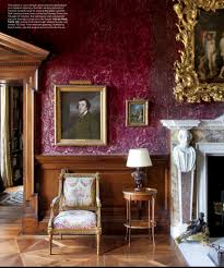burgundy wine wallpaper in a traditional living room in a historic