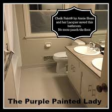 Tiling The Bathroom Floor - painting tile in the bathroom with chalk paint the purple
