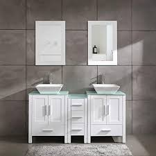 60 inch kitchen sink base cabinet white 60 bathroom vanity cabinet with sink combo glass top white mdf wood w mirror faucet drain set