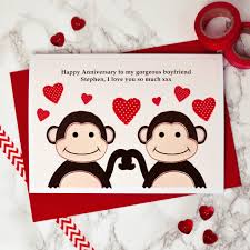 anniversary cards monkeys personalised anniversary card by arnott cards