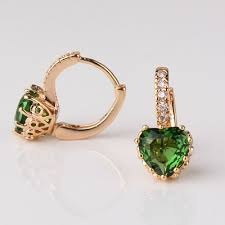 heart shaped earrings gold plated heart shaped emerald earrings