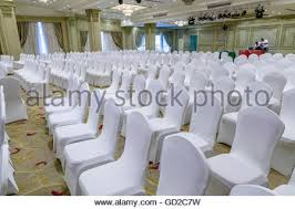 white wedding chairs marriage reception decorations with chairs stock photo