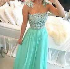 mint green chiffon illusion neckine beaded prom dress with lace