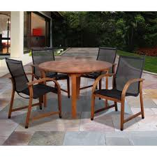 Garden Patio Table And Chairs Amazonia Bahamas Eucalyptus Wood 5 Piece Round Patio Dining Set