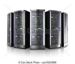 data center servers row of network servers in data center isolated on white stock