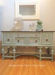 buffet painted with general finishes milk paint gel stain glazes