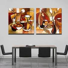 Abstract Home Decor 2 Panel Handmade Flower Cup Set Abstract Modern Oil Painting On