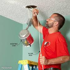 Install Can Lights In Existing Ceiling by Fishing Electrical Wire Through Walls Family Handyman