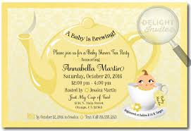 unisex baby shower unisex yellow tea party baby shower invitations di 4522
