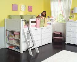 maxtrix kids low loft bed w built in dresser u0026 bookcase white 604