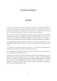 chambre d arbitrage de règlement d arbitrage du centre de conciliation et darbitrage dalger