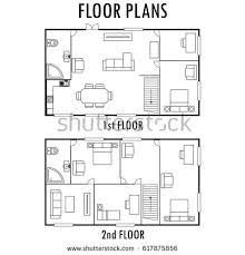 second floor plans architecture plan furniture house second stock vector