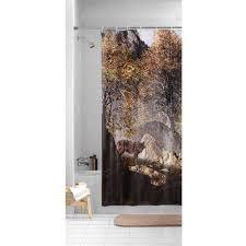 mainstays wilderness wolf photoreal peva shower curtain walmart