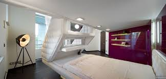 Interior Design For Split Level Homes by Split Level Plush Futuristic Retro Bedroom In White With Red