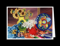 Mexican Vase Myra Epstein Fine Art Gallery Greeting Cards