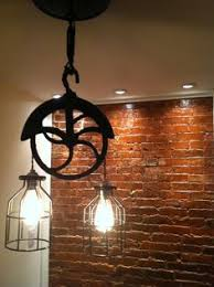 Farm Light Fixtures Industrial Pulley Pendant Lighting Ideas For Traditional Room With