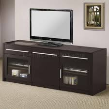 Desk For Tv And Computer Cappuccino Finish Modern Tv Stand W Slide Out Laptop Caddy
