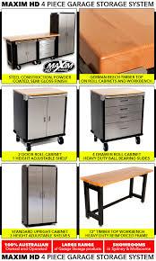 maxim hd 4 piece standard garage storage system timber workbench