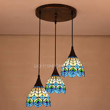 high end peacock pattern 3 light pendant lights
