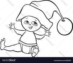 baby boy santa cartoon coloring page royalty free vector