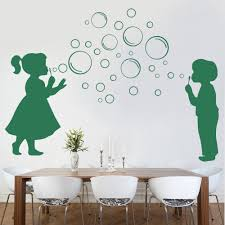 bubble boy and girl wall stickers decals forest green bubble boy and girl wall decal on a dining room wall