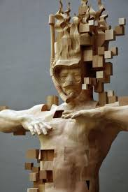 glitch wood carving pixelated snorkeler by hsu tung han