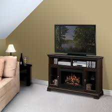 dark brown wooden shelves with fireplace on grey carpet connected