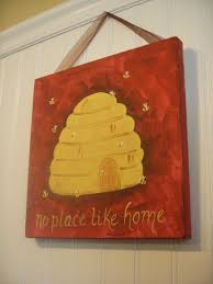 Home Decor Paintings by Bee Hive Original Canvas Painting No Place Like Home Hand