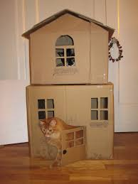 Cardboard House 2 Story Cat House I Made From Cardboard Boxes Pets Pinterest