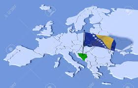 Bosnia Map 3d Map Of Europe Flag Bosnia Stock Photo Picture And Royalty Free