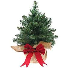 mini artificial tree with woven bag and bow 9